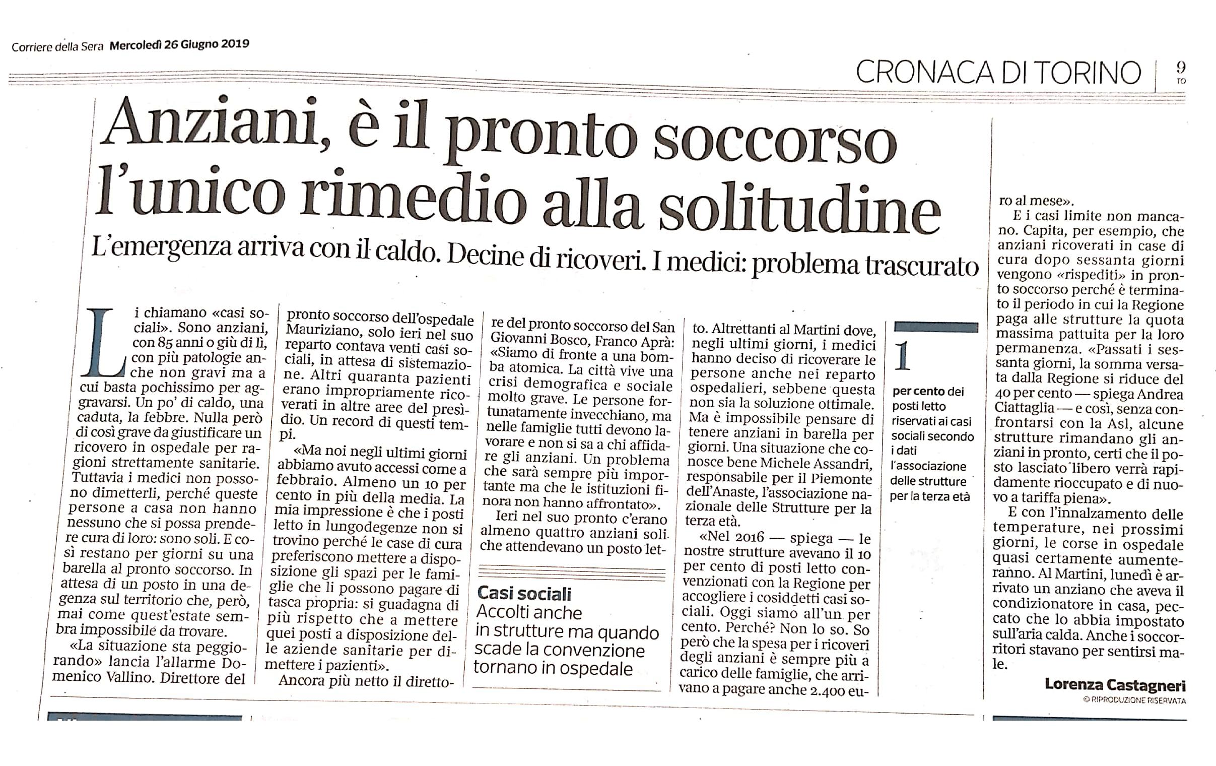 26.6.2019 Corsera Torino Ridotte le continuità assistenziali nelle RSA