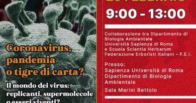 """Seminario Scientifico """"Coronavirus, pandemia o tigre di carta?"""" 29 febbraio, a cura della Federazione Erboristi Italiani"""