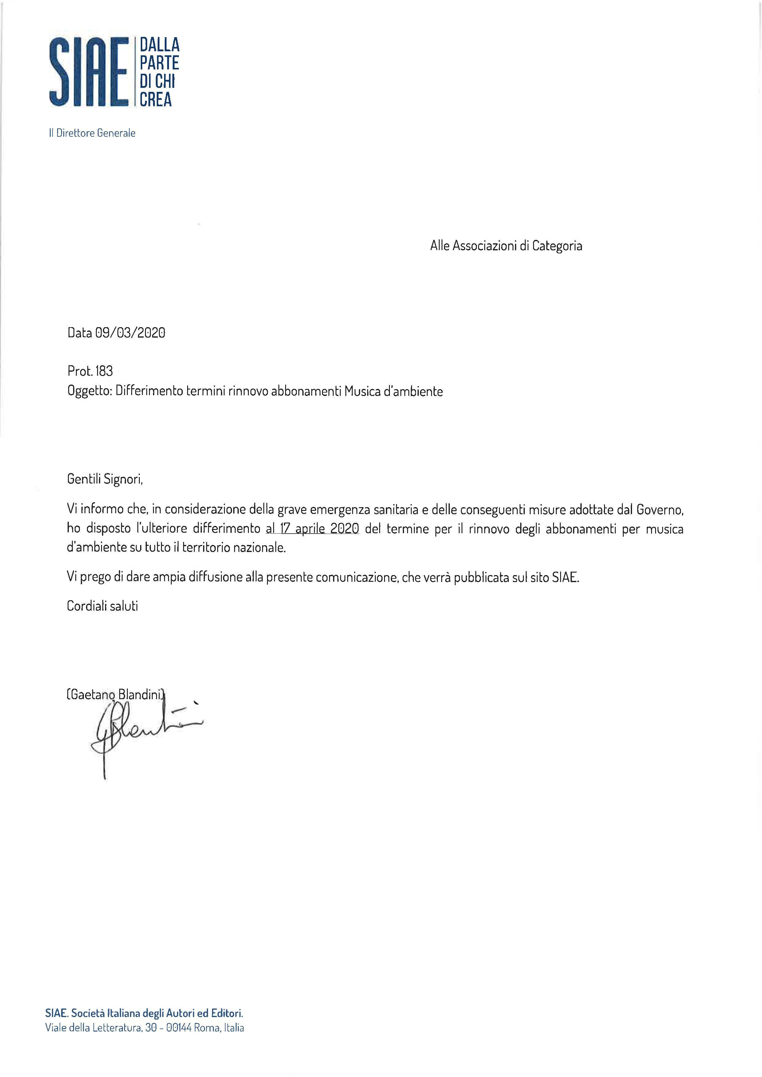 Prot. 183 2020 Differimento termini rinnovo abbonamento Musica dambie10423